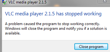 windows media player has stopped working