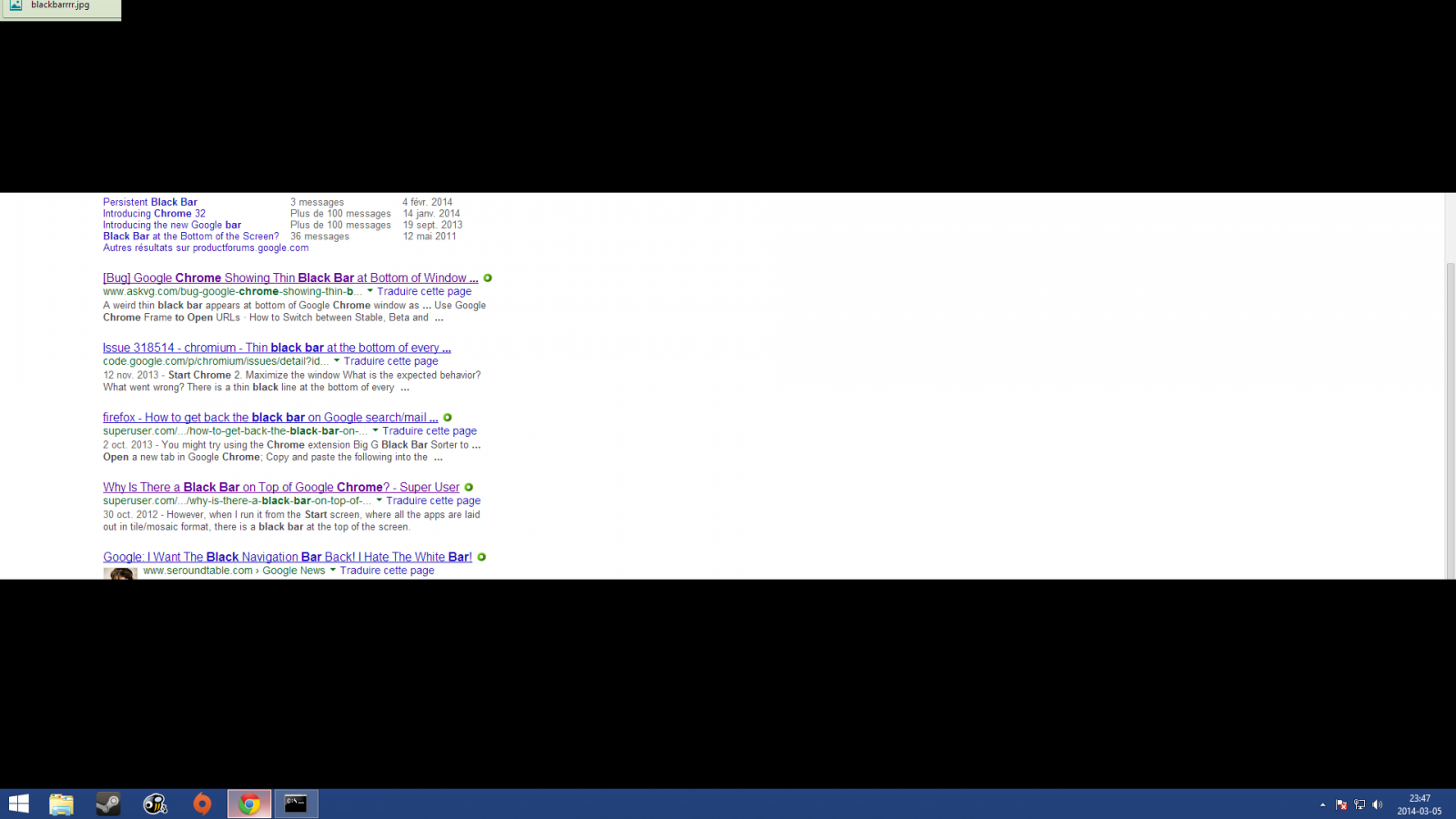 Most of screen covered in black when opening Chrome