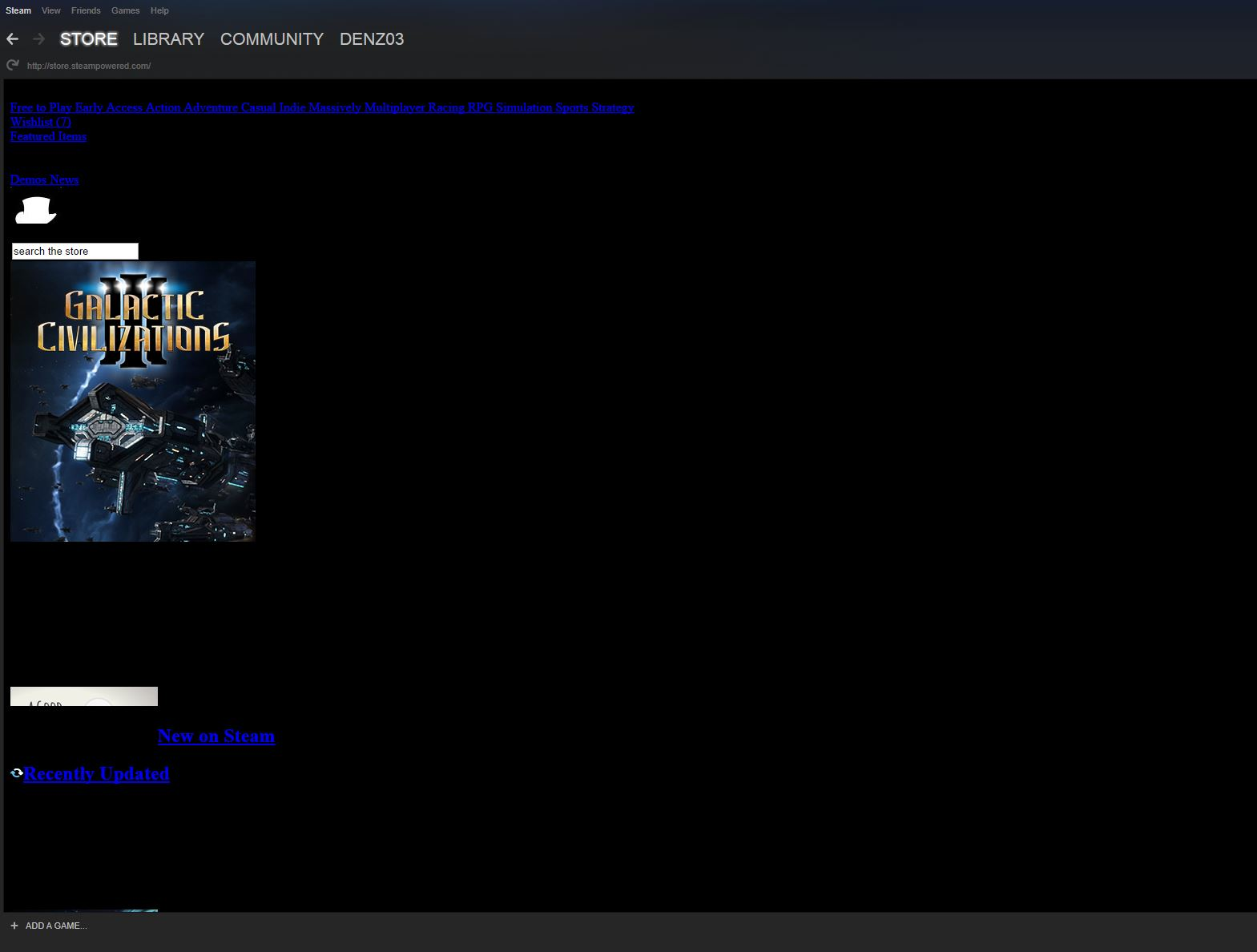 Steam UI in Store and my profile tabs are broken