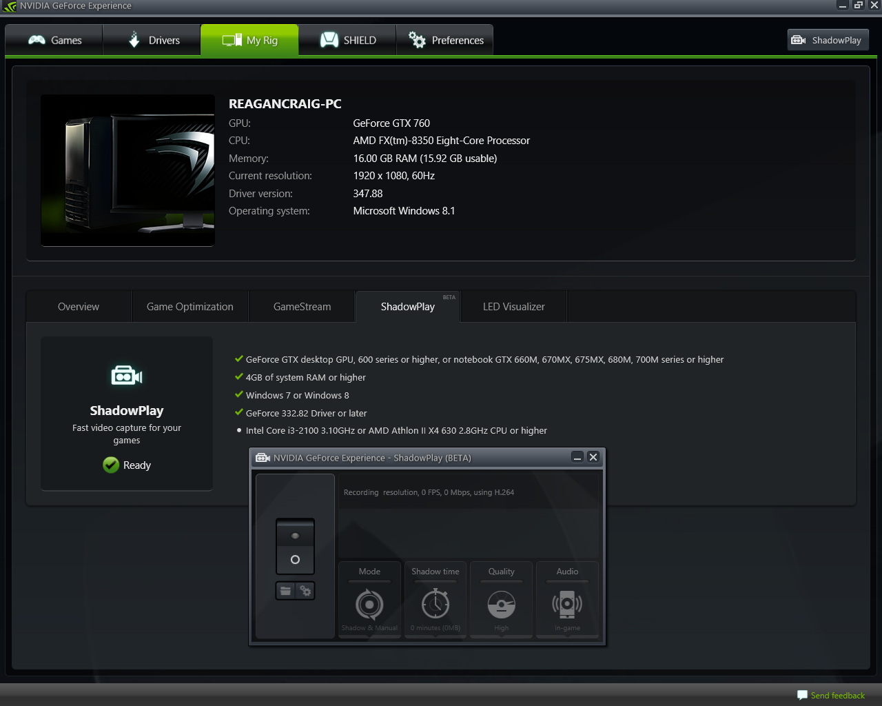 NVIDIA ShadowPlay - CPU not supported - FX8350