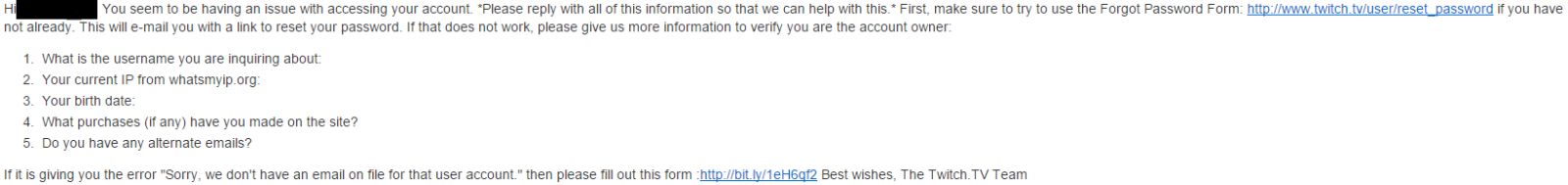 Twitch password reset email verification not working