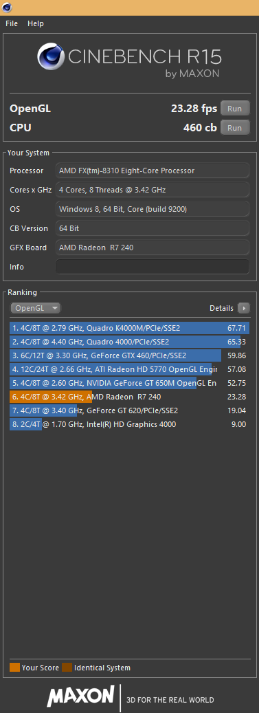 AMD R7 240 & AMD FX 8310 Cinebench Scores - Graphics Cards