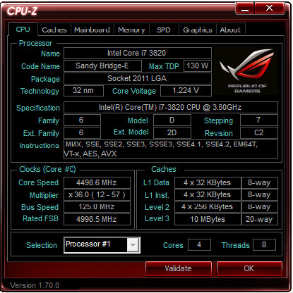 I7 3820 X79 Running At 4 5ghz On Stock Voltage Cpus