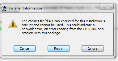 MSI Error 1335 - Disk1.cab cannot be found - Troubleshooting ...