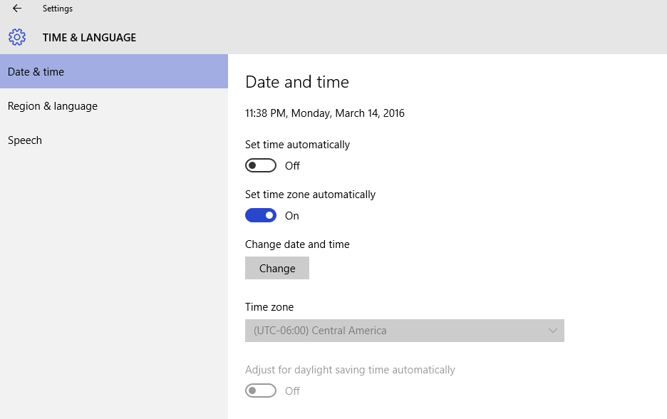 Adjust for daylight savings time automatically greyed out