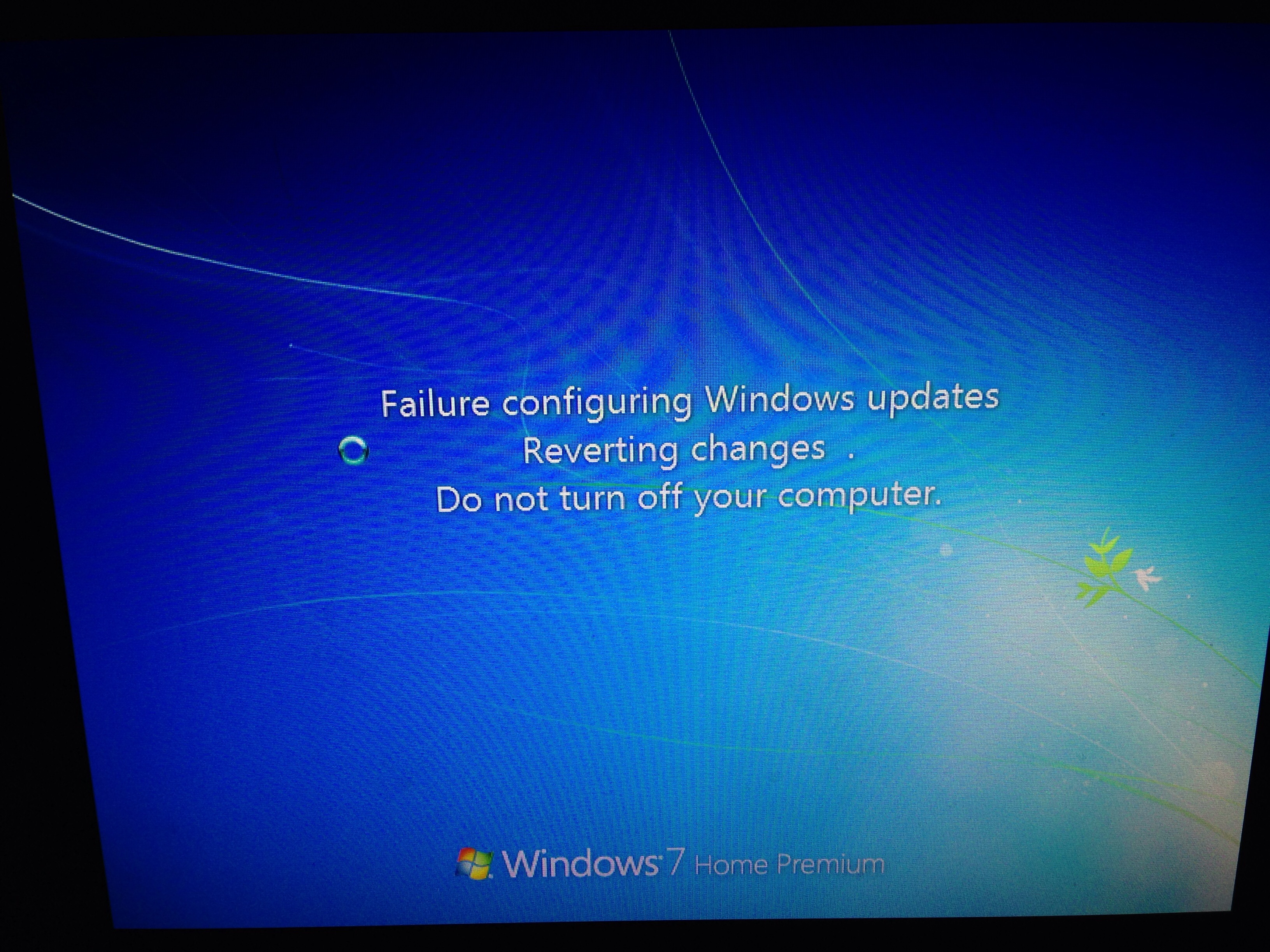 failure to update reverting changes windows 7