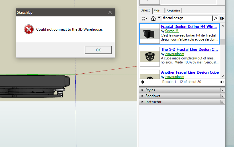 Can't connect to 3D Warehouse in Sketchup! HELP - Programs