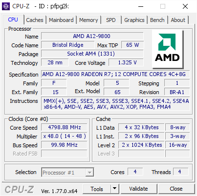 AMD A12-9800 overclocked to 4 8 GHz with Wraith Cooler