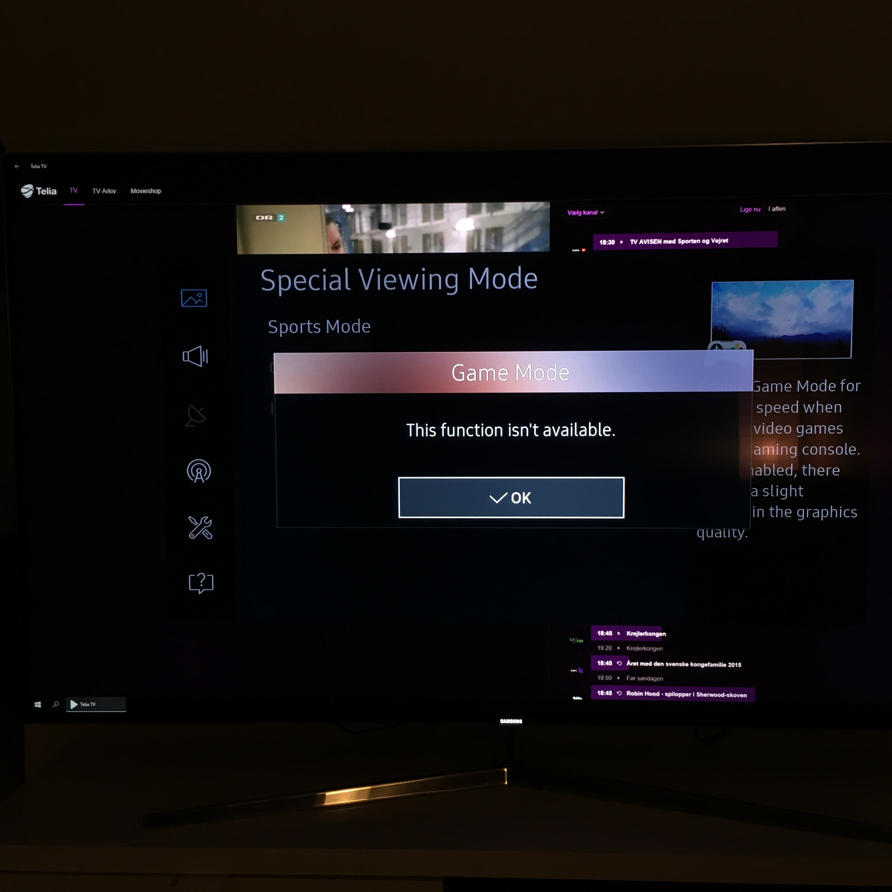I can't turn on game-mode on my new TV - Troubleshooting