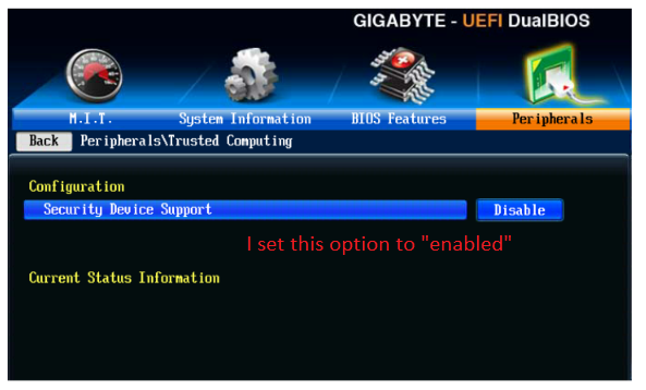 Question] About Bitlocker and TPMs  I cannot get my Gigabyte