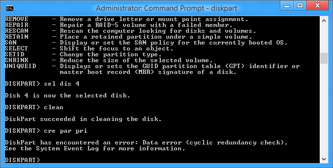 Erasing a Disk that has not been initialized? - Storage