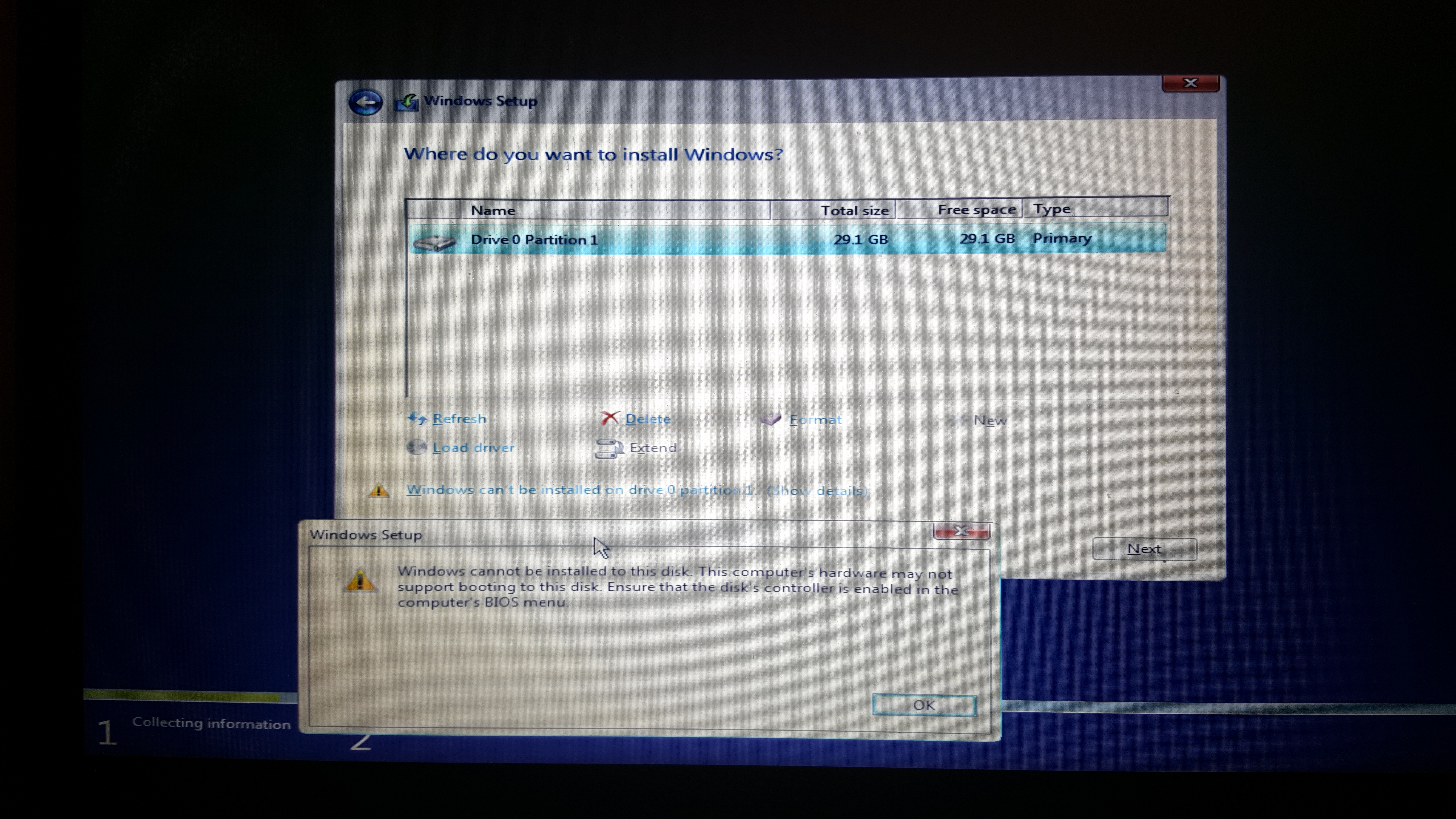 Can't install Windows disk controller error  Help needed right now