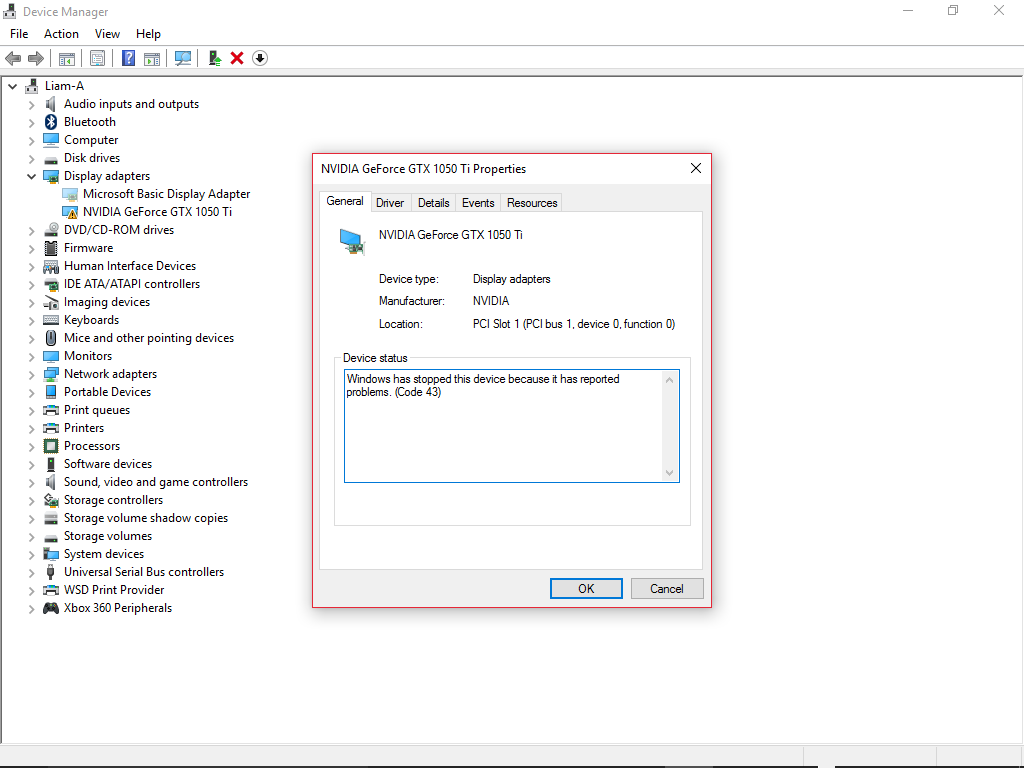 Microsoft basic display driver' is appearing instead of my EVGA GTX