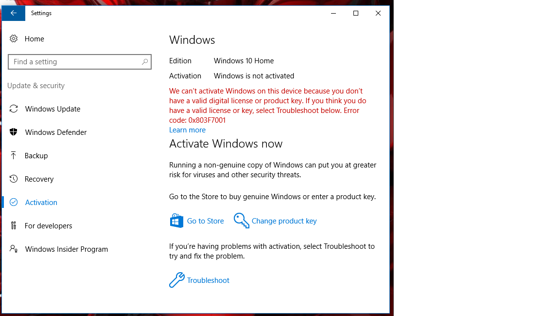 cant activate windows 10 home