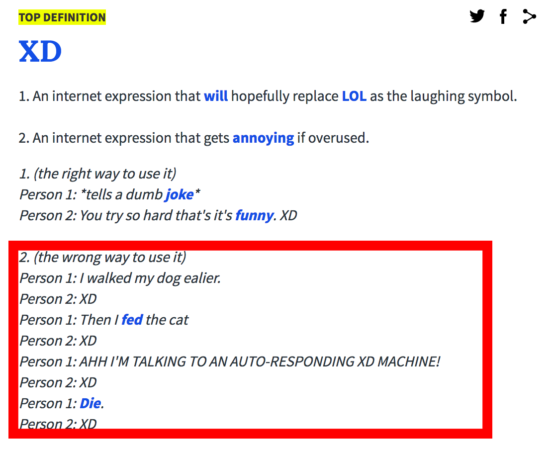 Found this on urban dictionary  XD - Off Topic - Linus Tech Tips