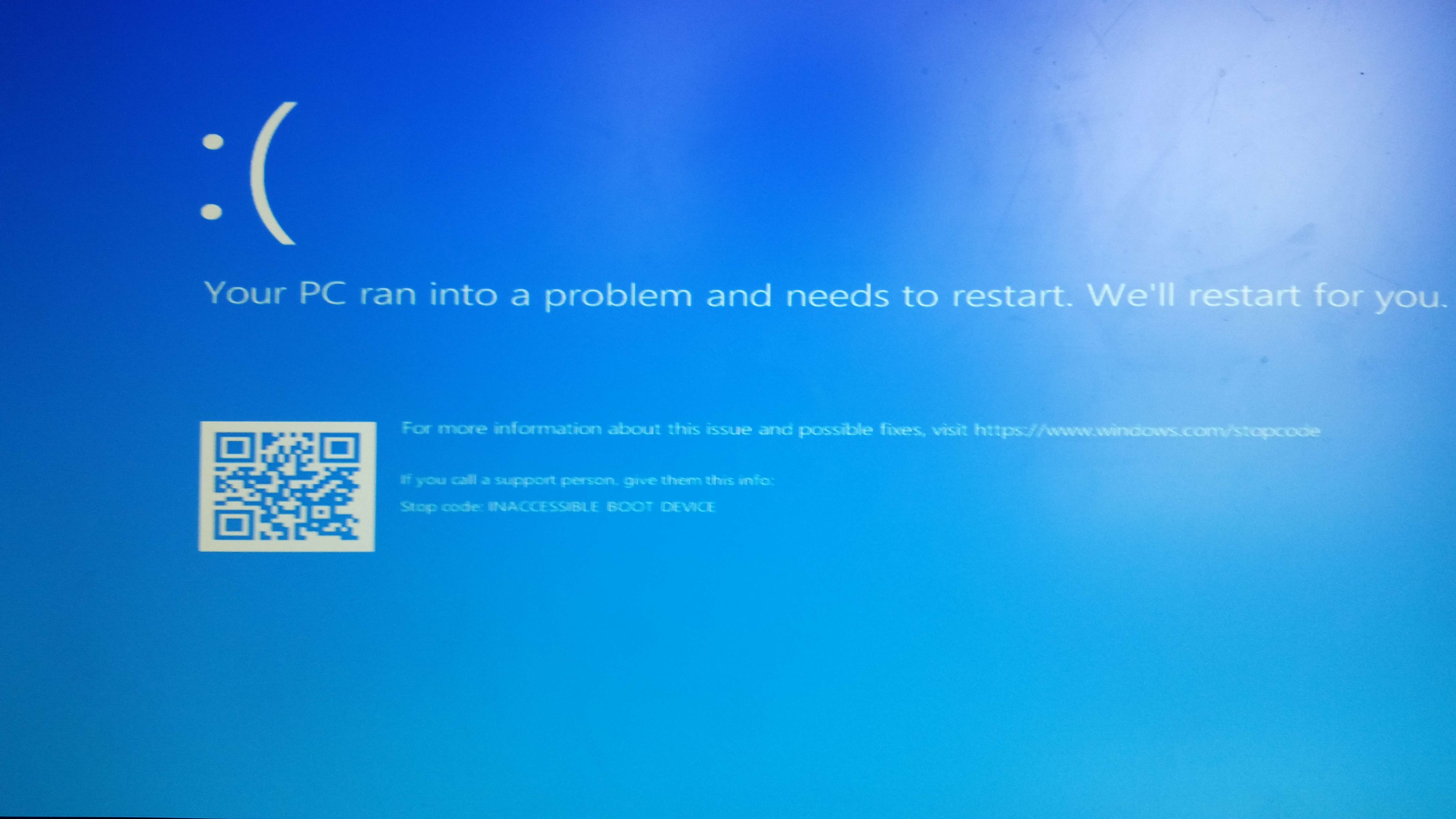 inaccessible boot device windows 10 after bios update asus
