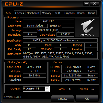 Ryzen 5 1600 CPU VCore Volatge - CPUs, Motherboards, and