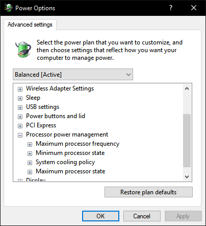 Which win 10 has minimum processor state at power option? - Windows