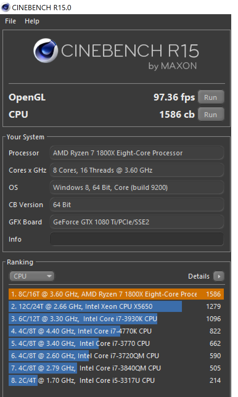 Low Cinebench R15 Scores for MSI GTX 1080TI Gaming X