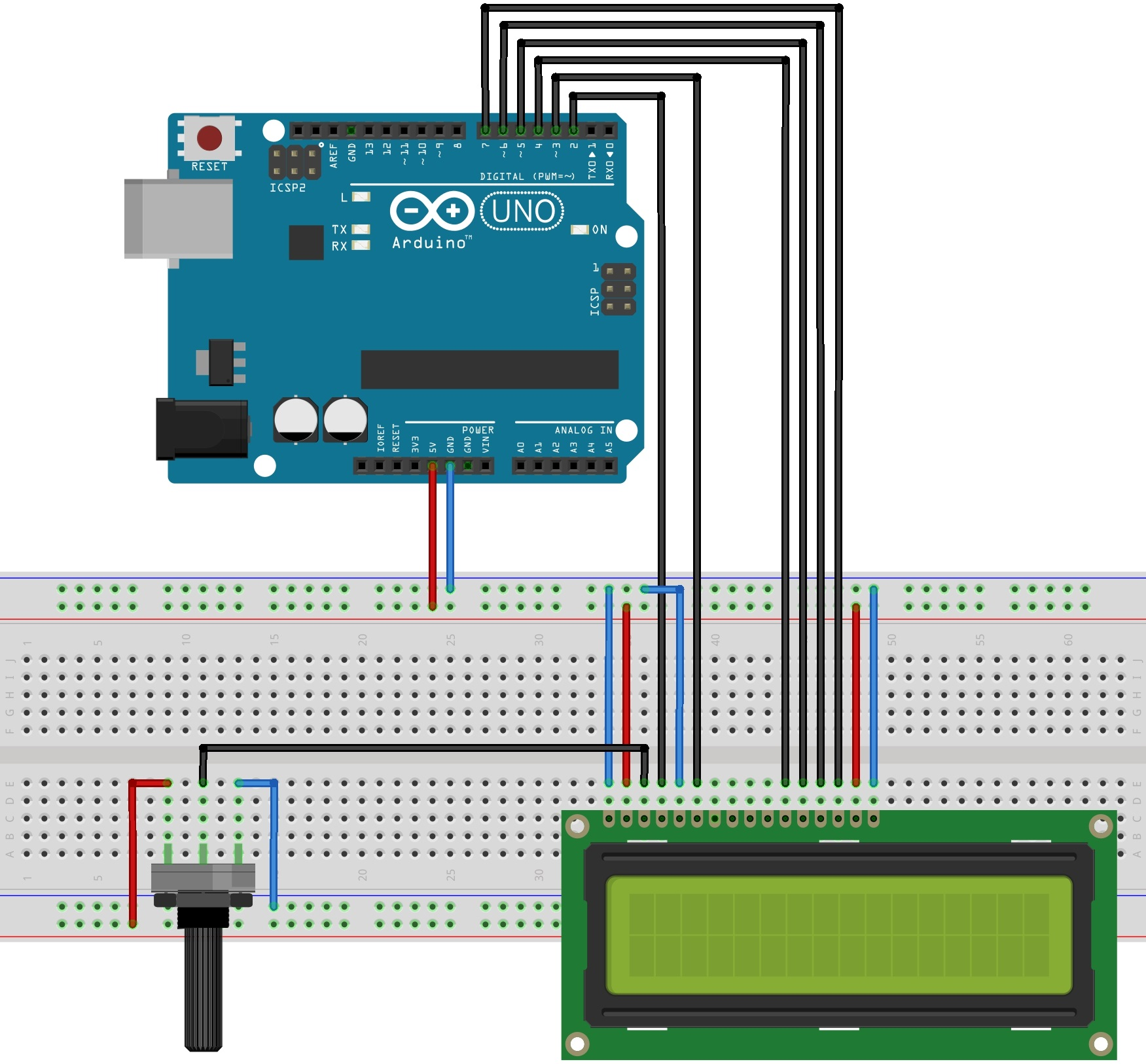 how to connect lcd to arduino without potentiometer