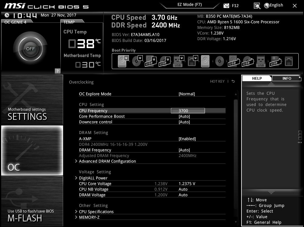 Ryzen 5 1600 overclocking while lowering voltage below stock safe