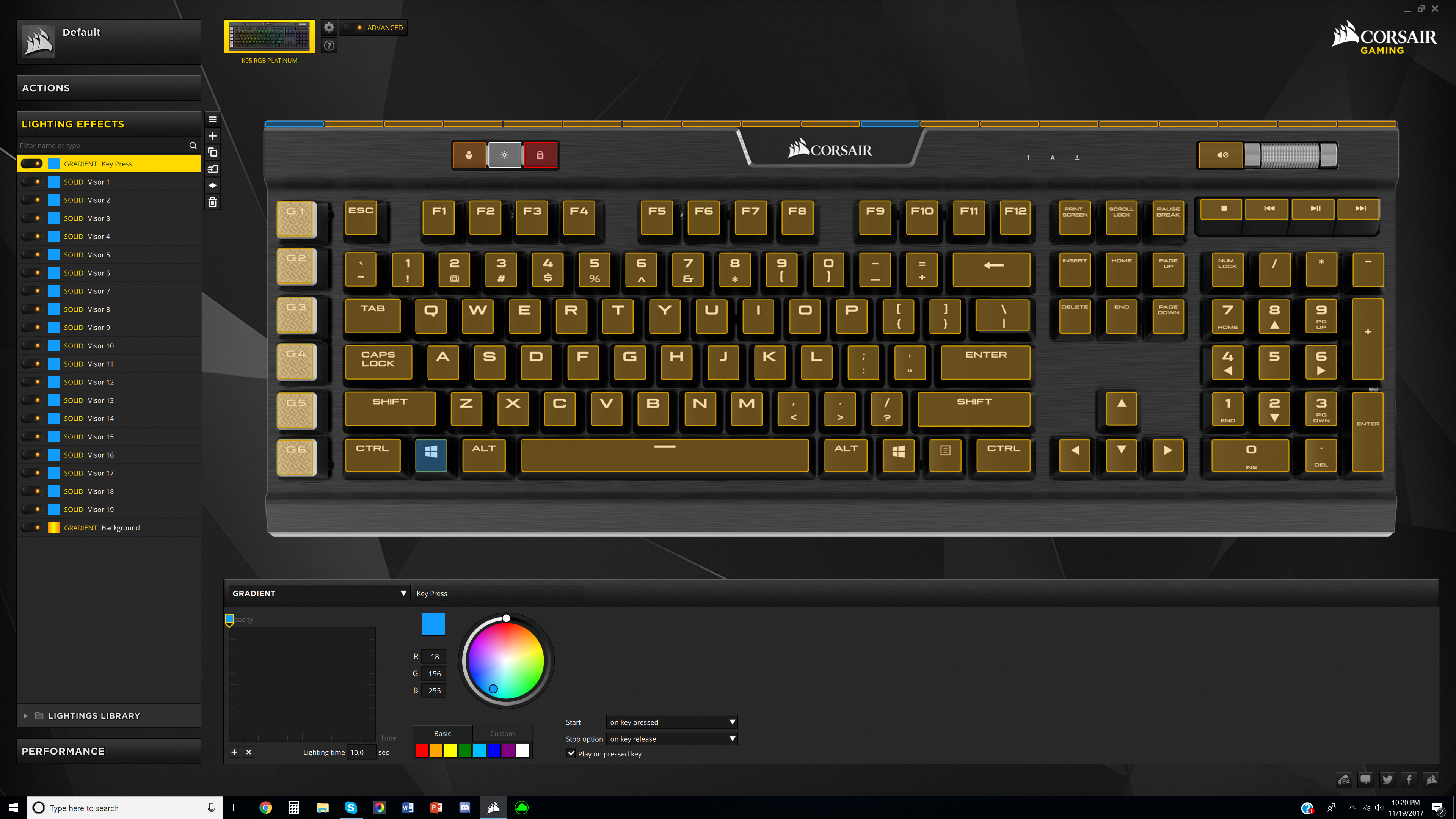 How do I make all my effects into one effect on my k95 RGB Platinum