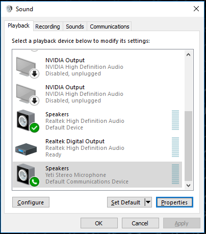 Blue Yeti microphone not working, possibly to do with windows update