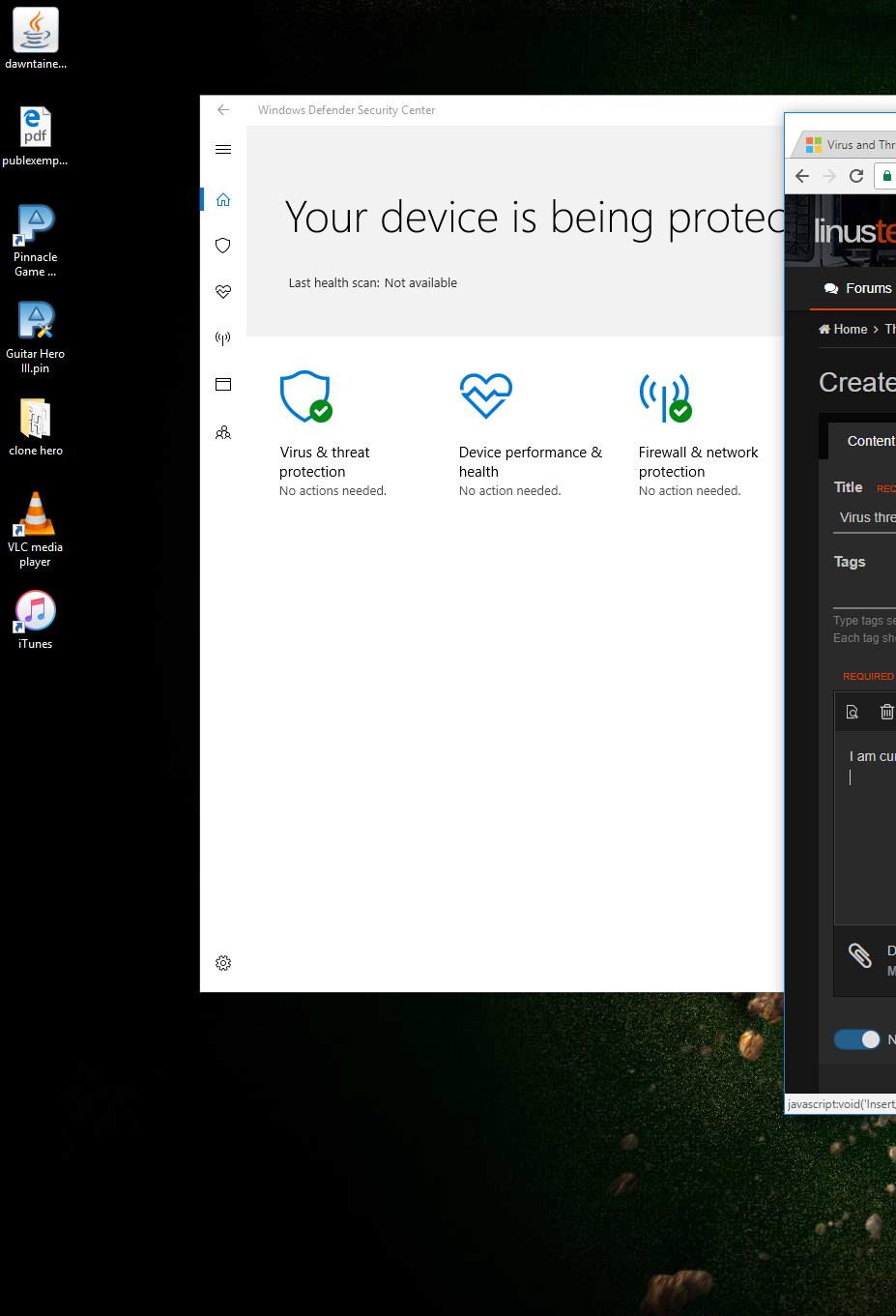 Virus threat and protection automatically turns off