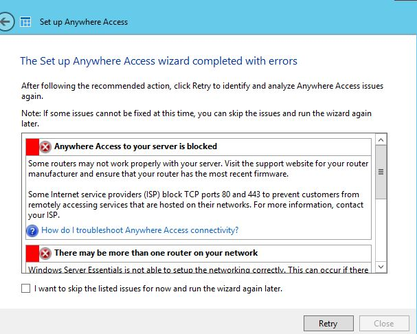 Setting anywhere access in Windows Server Essentials Server