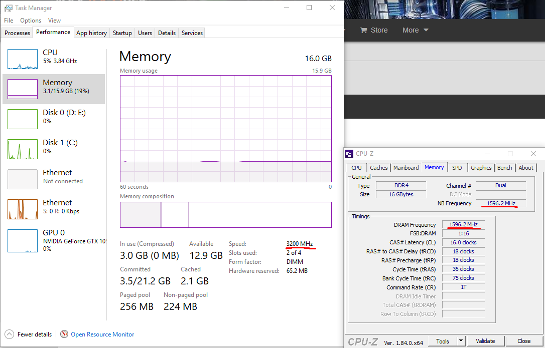 Task Manager says ram is at 3200mhz but other programs say