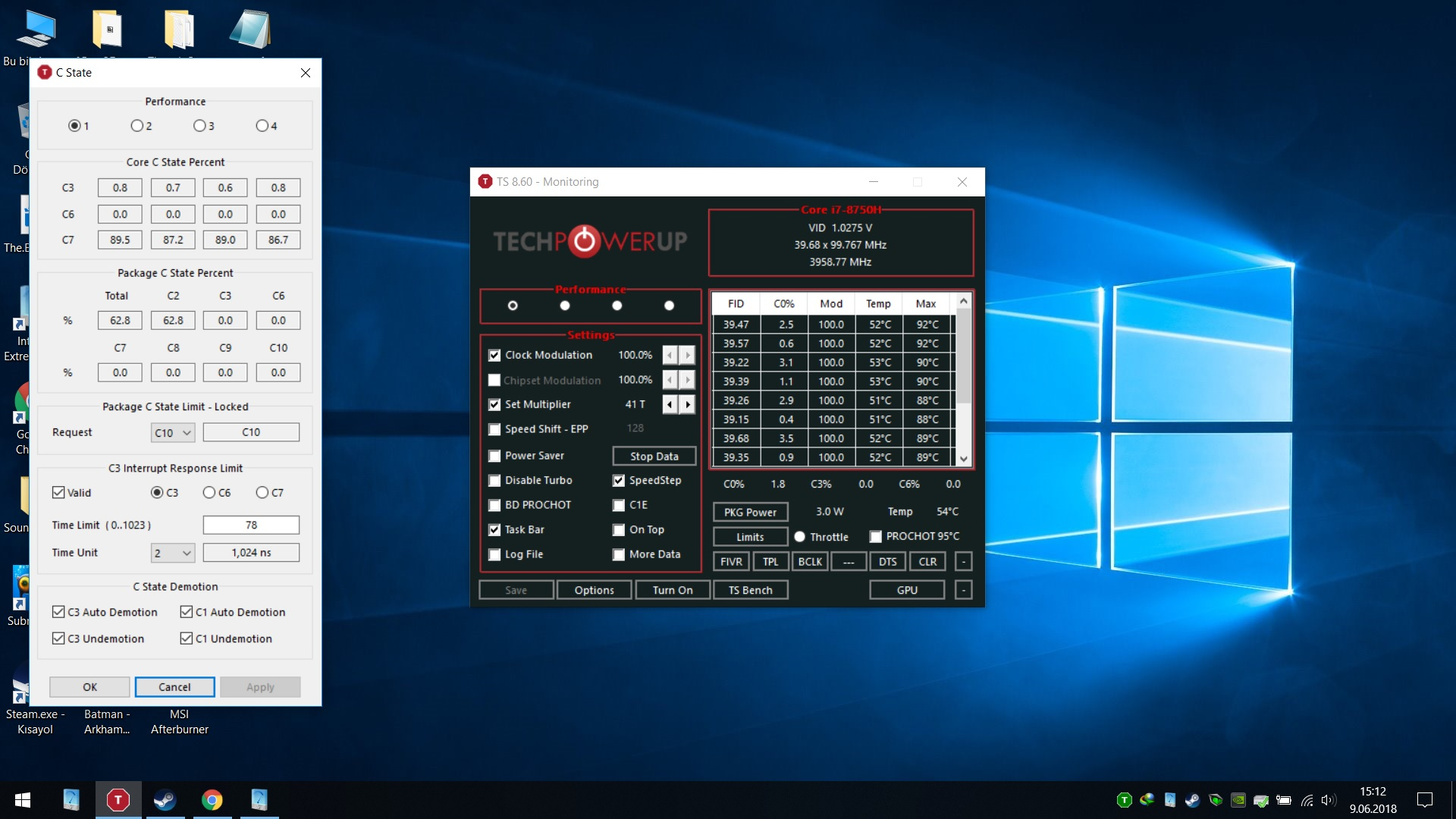 i7 8750h - Power Limit Throttling - Low TDP Even though