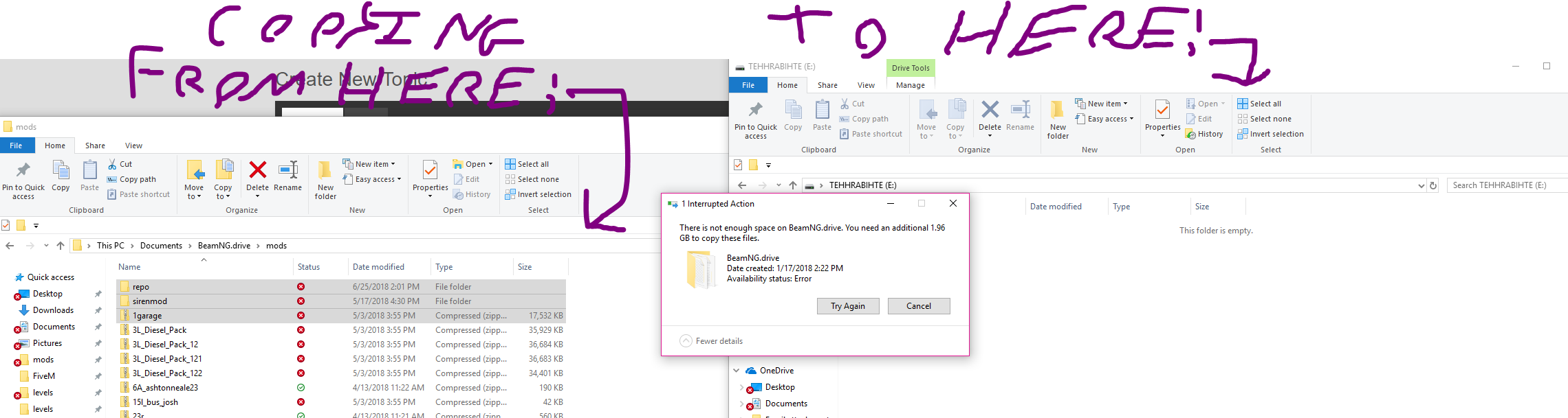 Can T Copy And Paste Files Says There Is Not Enough Space On The