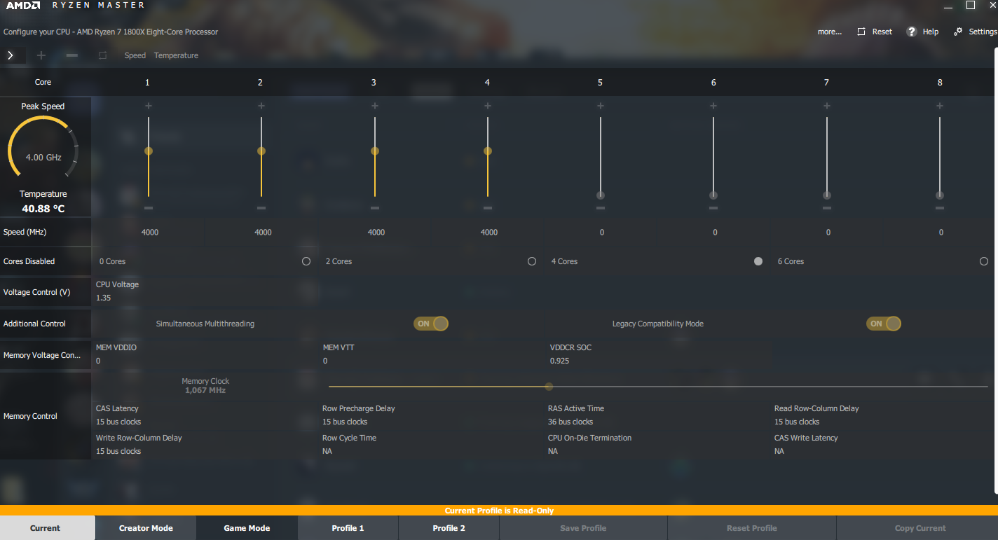 Bios Overclock 1800x Disables cores? - CPUs, Motherboards, and