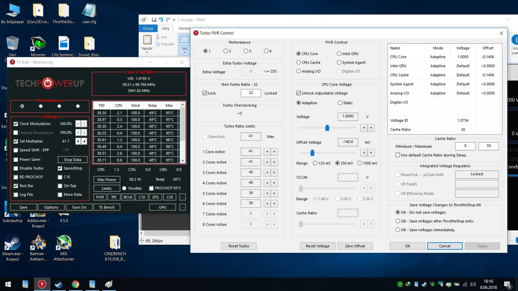 i7 8750h - Power Limit Throttling - Low TDP Even though cooling is