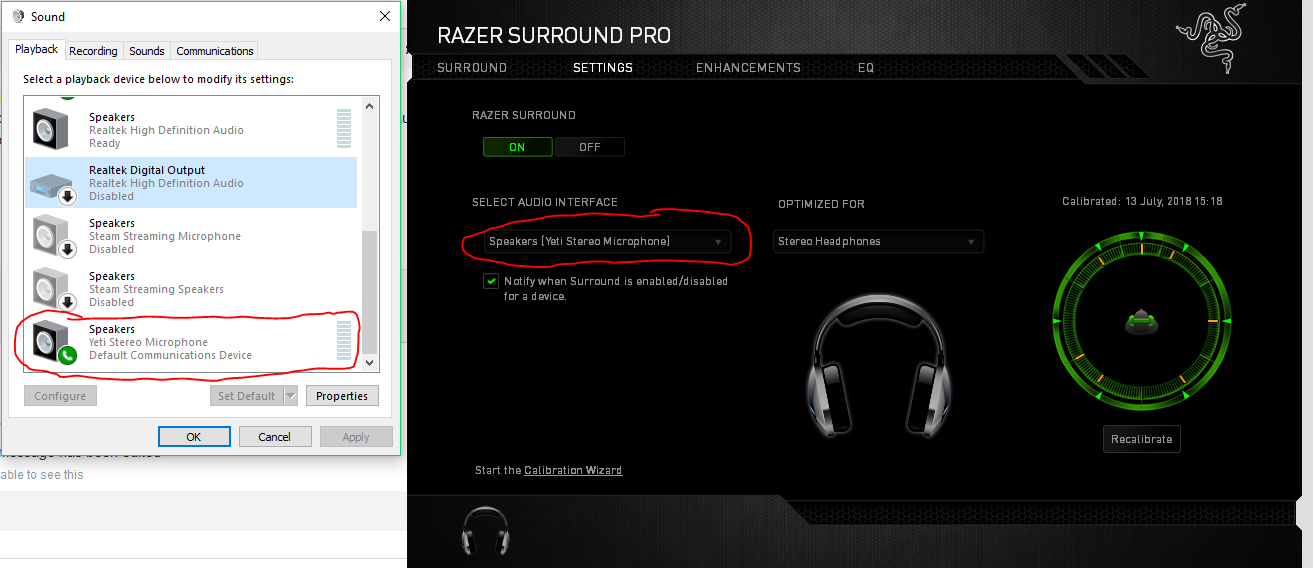 Razer Surround Pro changes default audio device at startup