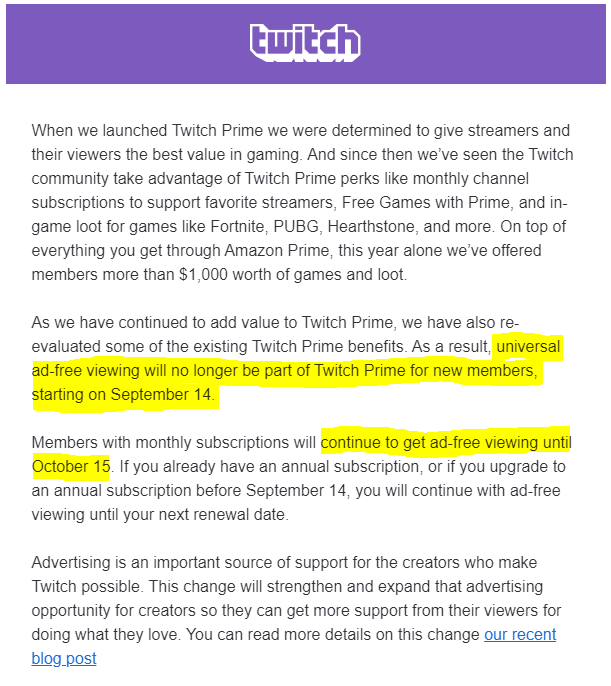 Twitch Prime Ends Ad-Free Viewing for Prime Users, citing