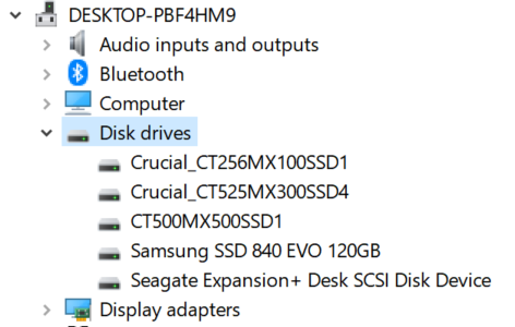 SSD not visible in DiskPart etc  but visible in Crucial Tool