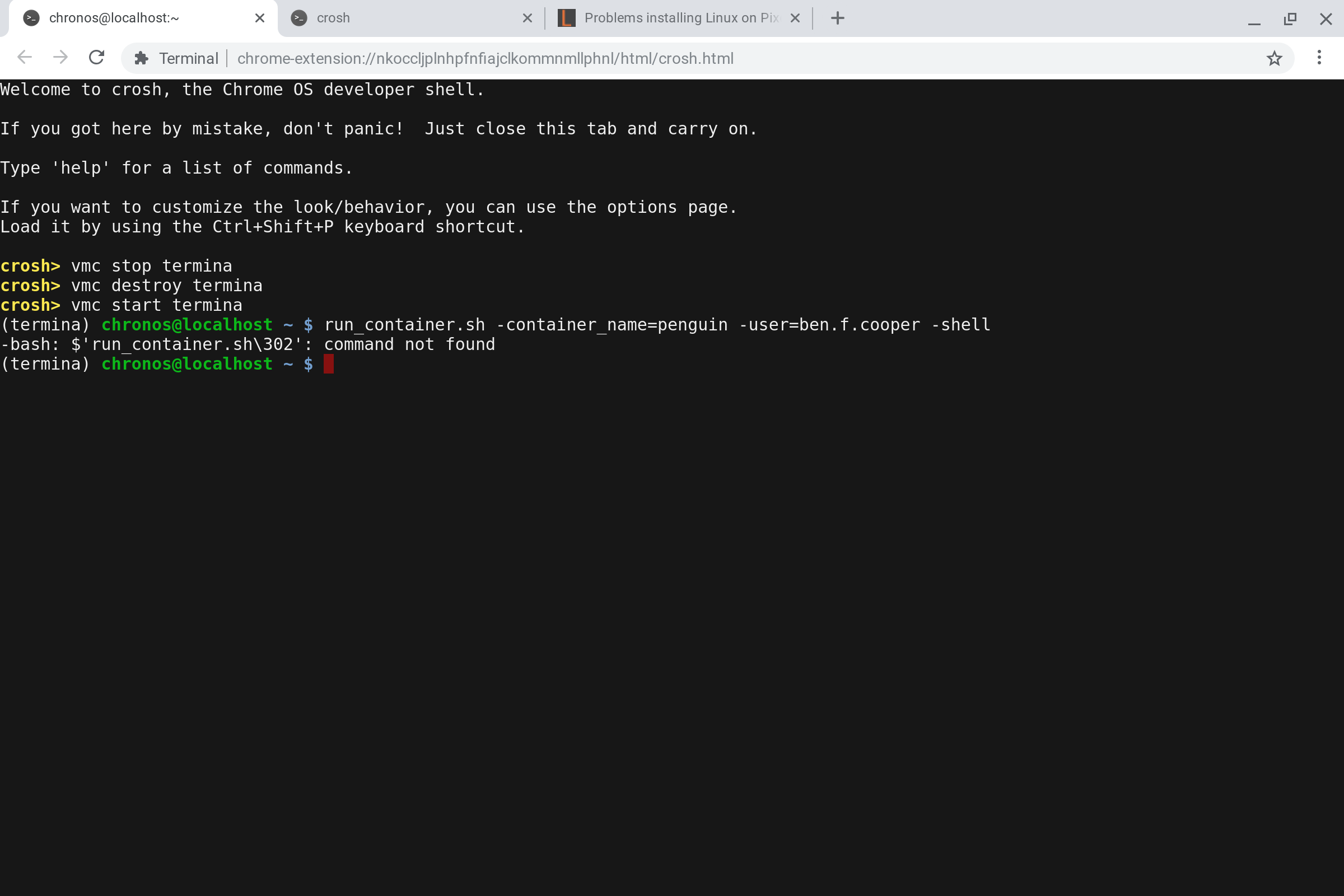 Problems installing Linux on Pixelbook   The Linux container didn't
