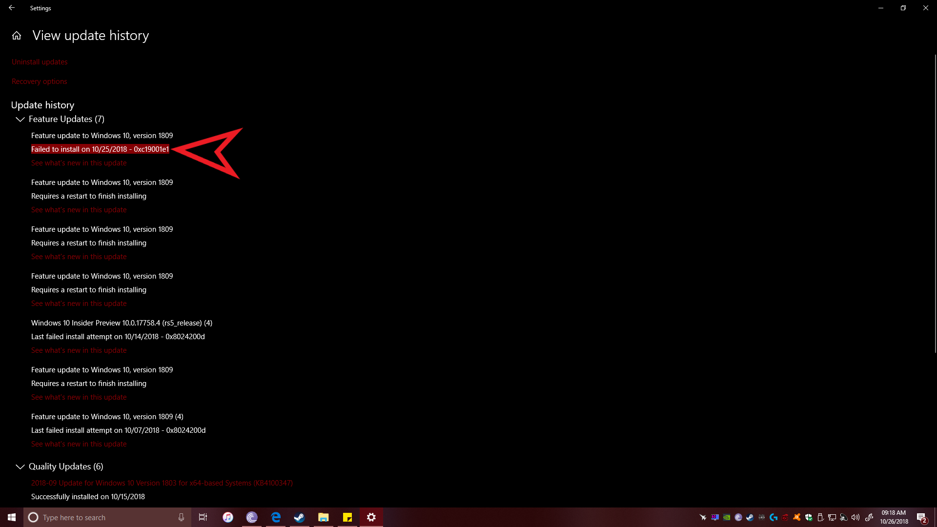 Windows 10 1809 update fails to install with error 0xc19001e1