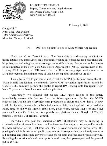 NYPD demands Google to Stop Revealing Location Of DWI Checkpoints