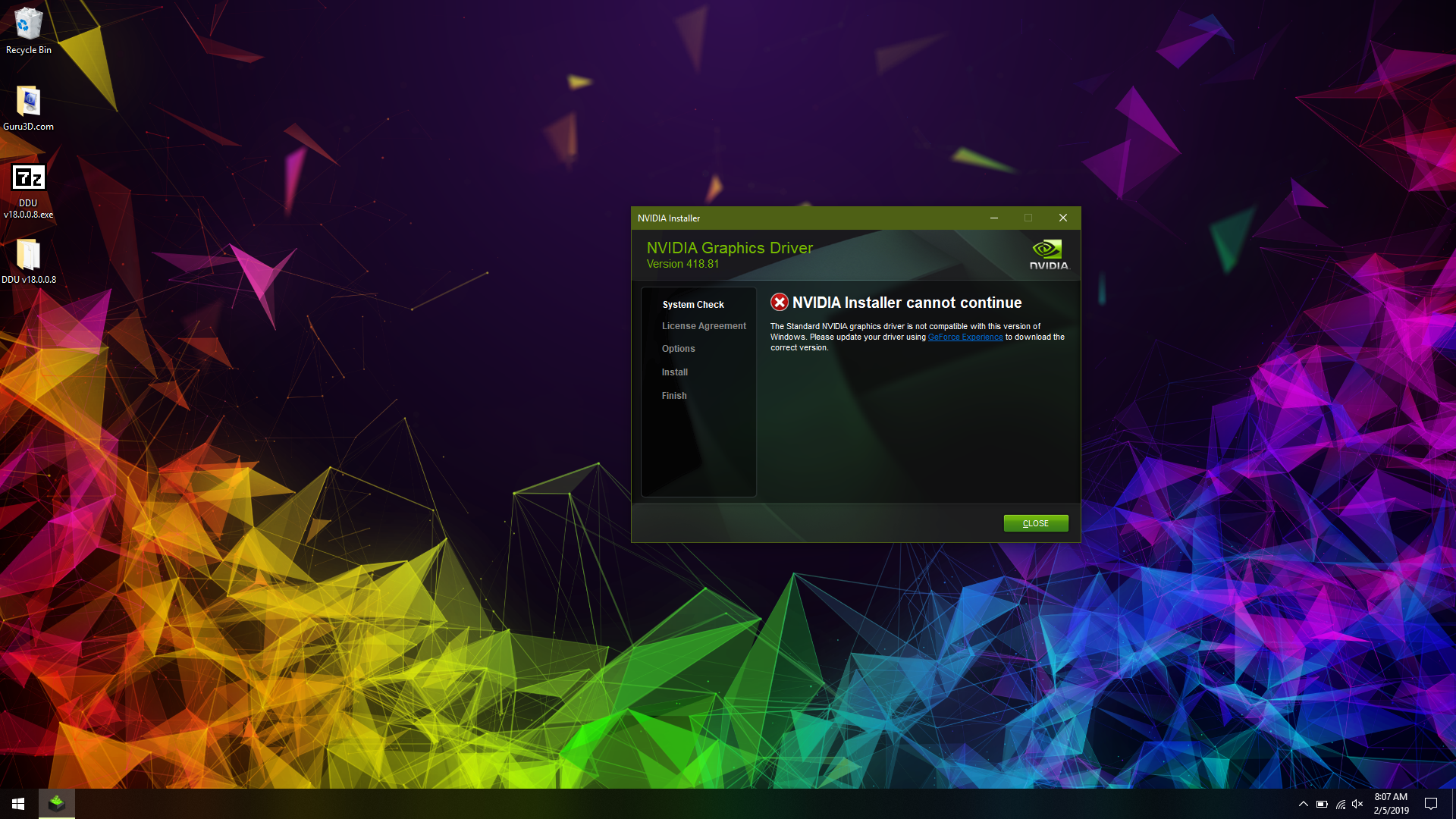 Can't install any Nvidia drivers on RTX Laptop - Graphics Cards