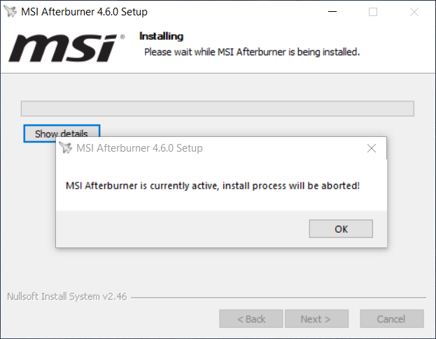MSI Afterburner is currently active