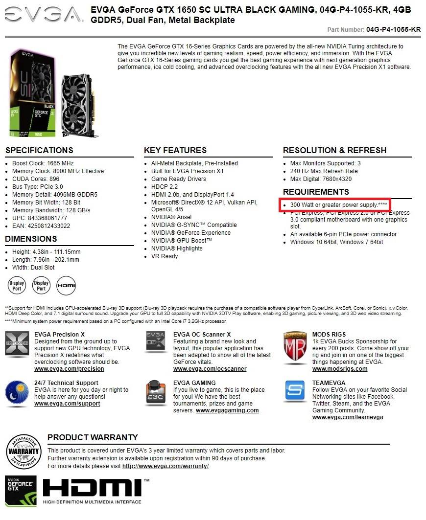 GTX 1650 or used RX 560/GTX 1050Ti (PSU without 6-/8-pins