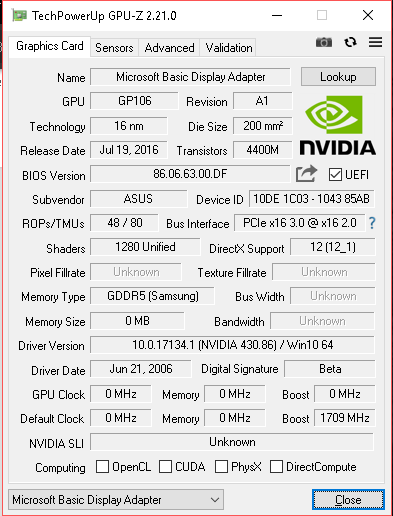 In need of a Asus gtx 1060 6gb turbo bios - Graphics Cards