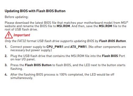 B450 tomahawk bios flashback help - CPUs, Motherboards, and