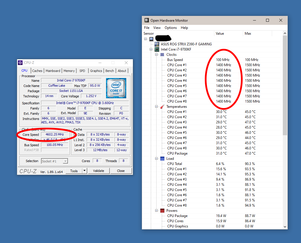 Why do CPU-Z and Open Hardware Monitor show different clock speeds