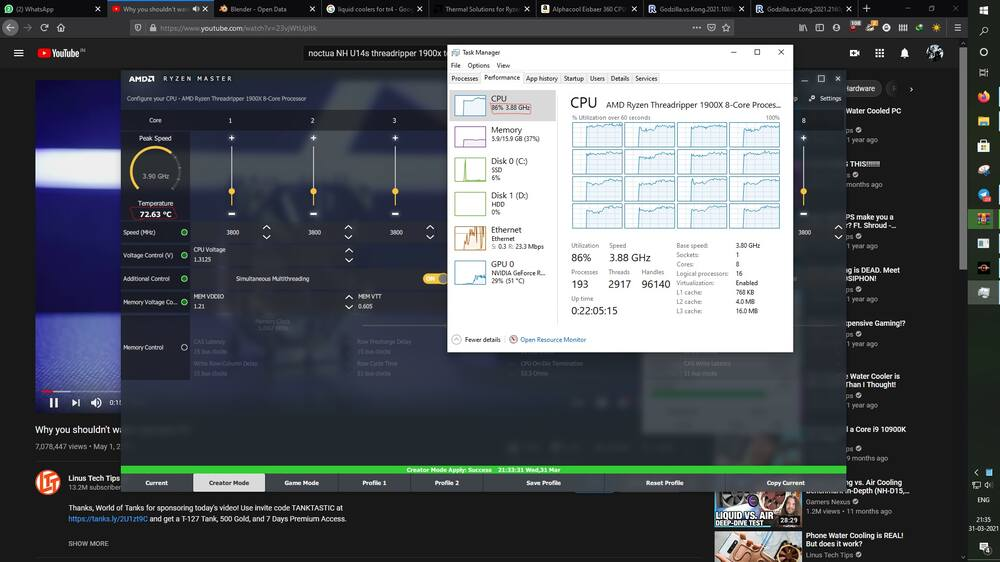 Screenshot of the overheating issue